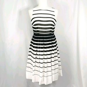 Black and white striped Cotton Dress